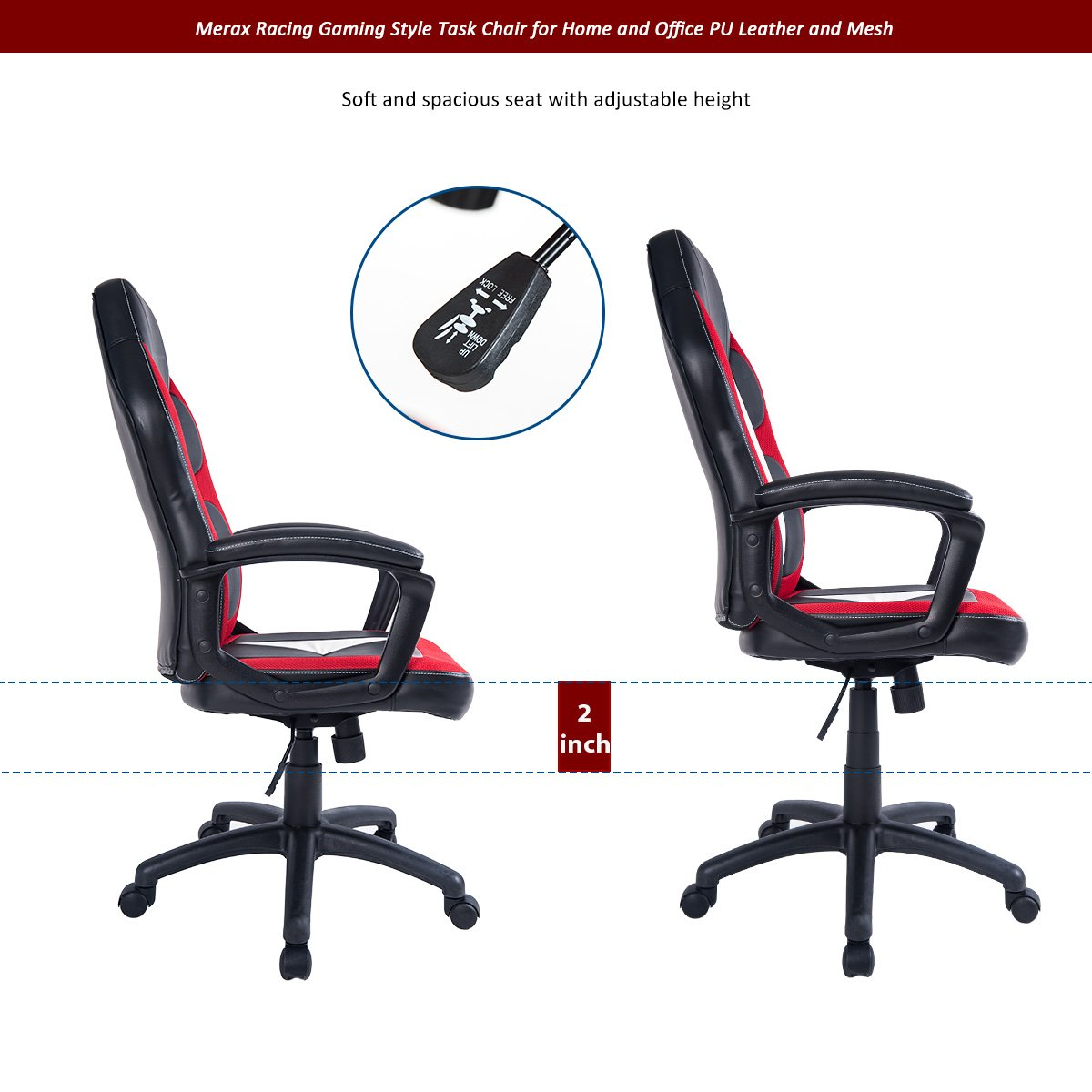 Merax Racing Gaming Style Task Chair for Home and Office PU Leather and Mesh Red