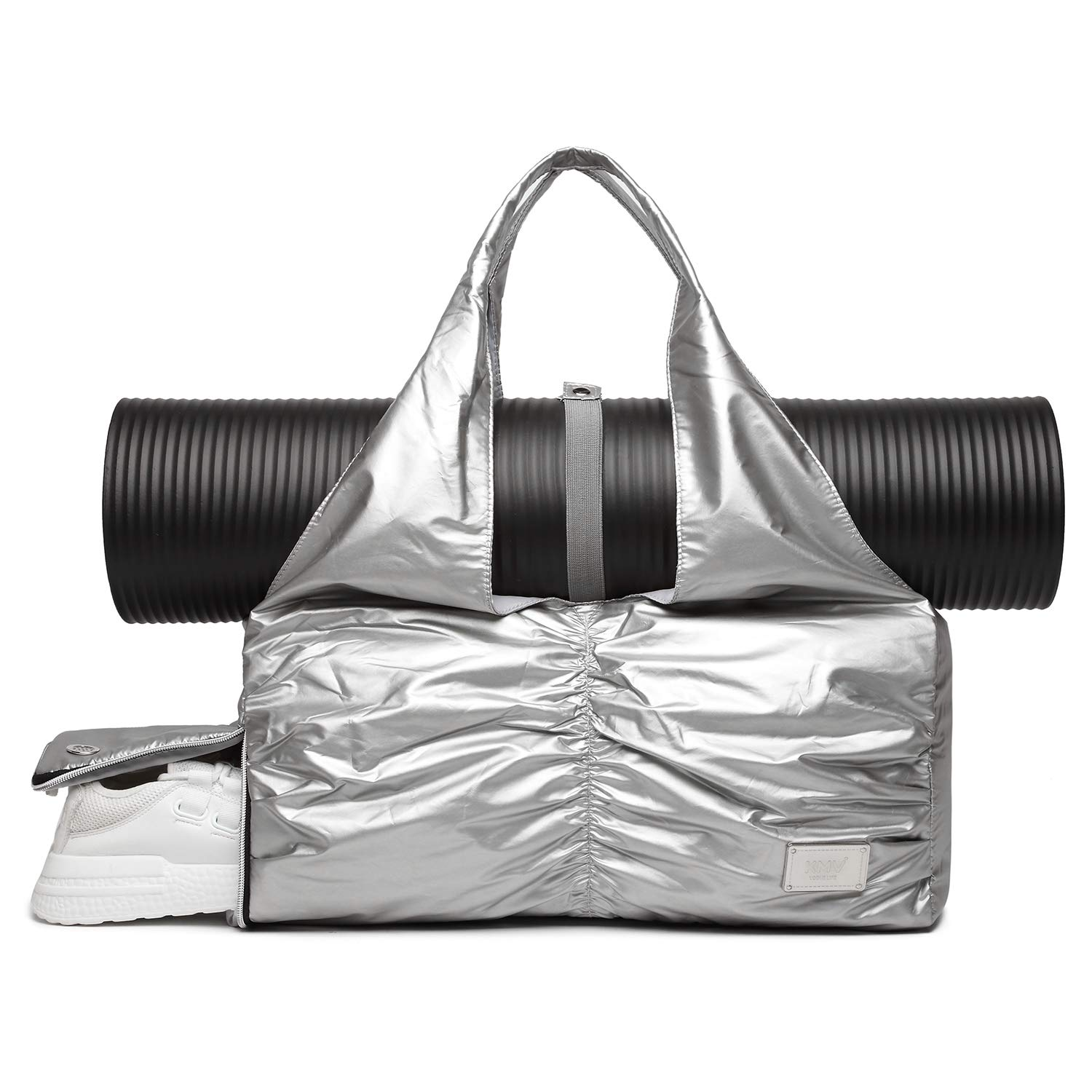 Travel Yoga Gym Bag for Women, Carrying Workout Gear, Makeup, and Accessories, Shoe Compartment and Wet Dry Storage Pockets, Sliver