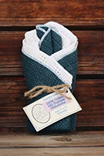 "product image for Old Fashion 100% Cotton Dishcloths - Set of 4-12"" x 12"" (Natural/Slate Blue)"