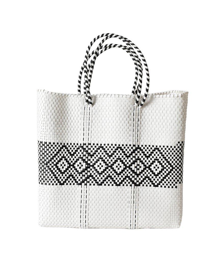 (レトラ) Letra メルカドバッグ BORDER&pattern M mercado-bag-bomidi-m B07D531LVZ M|ホワイトダイヤ ホワイトダイヤ M