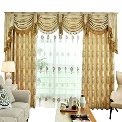 Amazon.com: Queen\'s House Gold Curtains for Bedroom Window Curtains ...