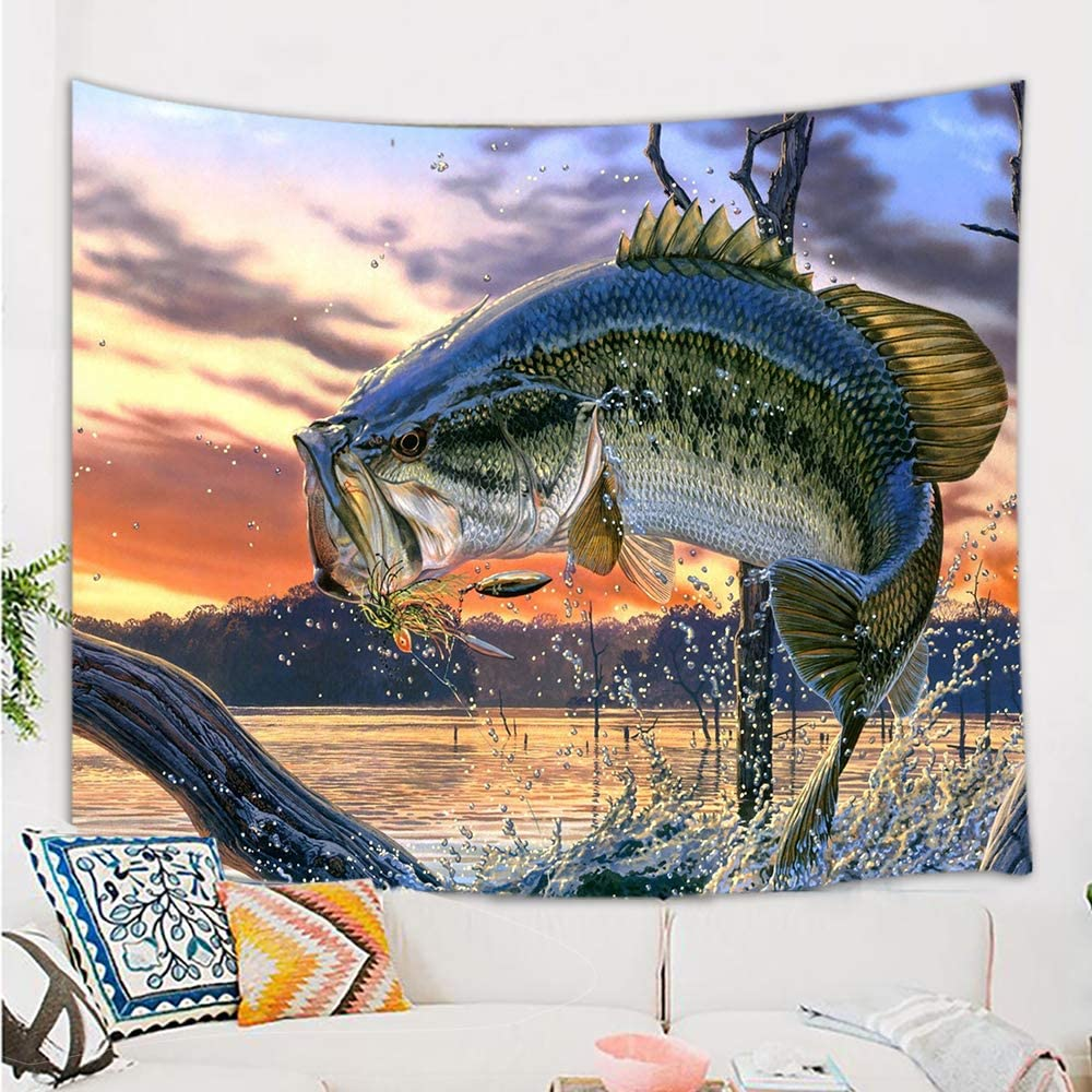 NYMB Fishing Tapestry, Bass Fish with Hook Out of Ocean at Sunrise Tapestry Wall Hanging, Tapestry Wall Blankets for Bedroom Living Room Dorm Ceiling TV Background, 71 X 60 Valance Home Art Decor