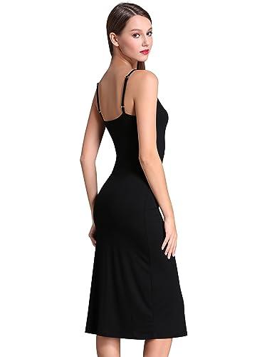 MsBasic Women's Adjustable Spaghetti Straps Long Cami Slip Dress