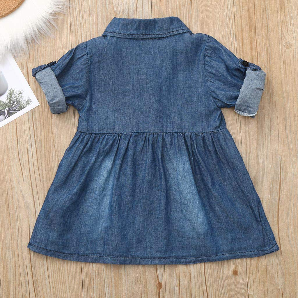 Shi Tou/_Children Toddler Baby Girls Long Sleeve Solid Button Denim Shirt Dress Jean Dresses