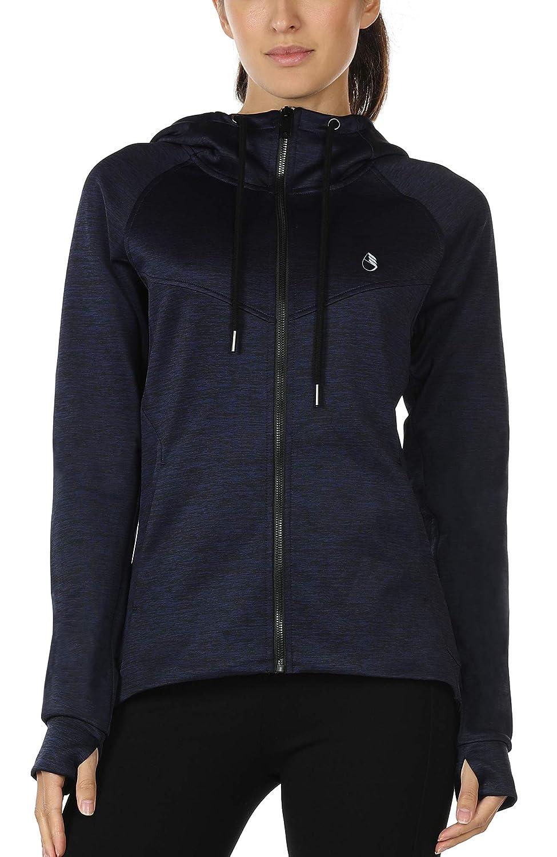 icyzone Damen Laufjacke Trainingsjacke mit Kapuze - Fitness Sweatshirt voll Zip atmungsaktiv Sport Jacke Langarm Shirt im Winter