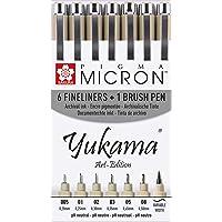 Yukama® Art-Edition Sakura Pigma Lot de 6crayons à pointe fine Pigma Micron et 1crayon pinceau Pigma Brush Noir