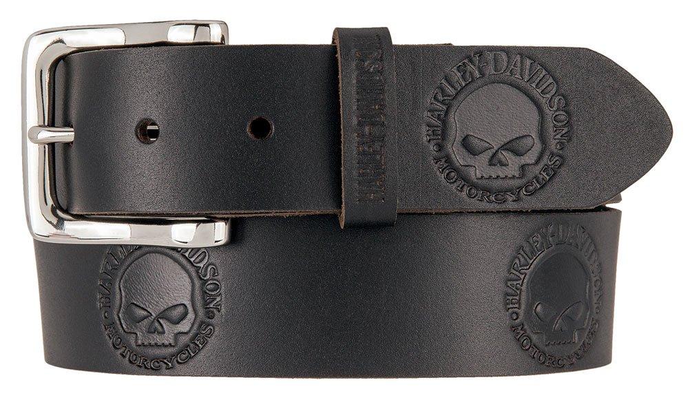 Harley-Davidson Men's Embossed Willie's World Leather Belt HDMBT11332-BLK (36)