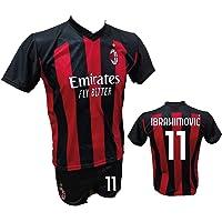 DND Di D'Andolfo Ciro Komplett fotbollströja Zlatan Ibrahimovic Milan och shorts med nummer 21 tryckt auktoriserad kopia…