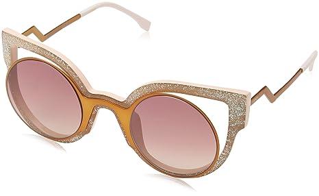 eca9892b906b Fendi Paradeyes Fashion Show Round Sunglasses in Orange Pink Glitter ...