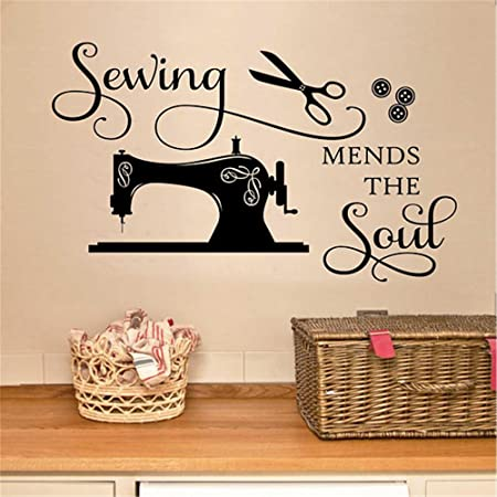 wall decal stickers quotes saying and words diy sewing mends the