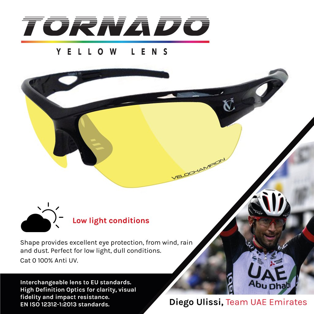 VeloChampion Warp schwarze Rahmen Sonnenbrille mit 3 Linsen ...