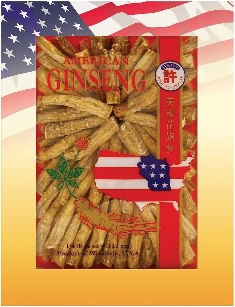 SKU 0121-4, Hsu s Ginseng Cultivated American Ginseng Large Prong 4 oz 113 gm Box , 0121-4, 0121.4