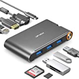 UPVICH USB C Hub,USB C Adapter,Docking Station 4K USB C to HDMI Ethernet VGA and Power Delivery 100w and USB 3.0 Adapter,Thunderbolt 3 USB-C Dock Compatible with Macbook Pro Dell Lenovo Adaptor