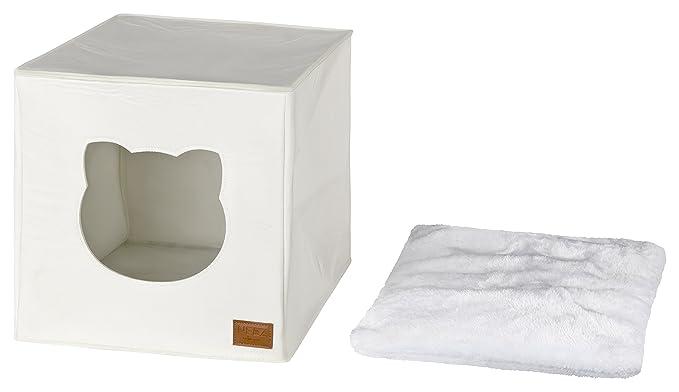 Cama de Gato by Incl. cojín | Casa de Gato Adecuada para IKEA Kallax & Expedit | Cueva Comoda en Gris óptica de Fieltro | Diseño Elegante y Moderno | (White ...