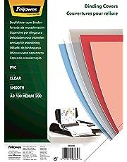 Fellowes Cristal - Portadas para encuadernar de PVC transparente, A3, transparente