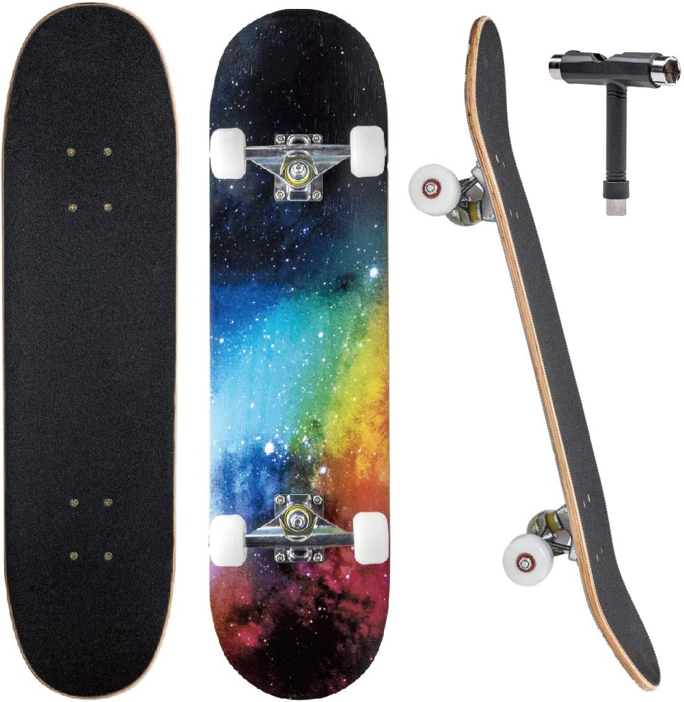 JECOLOS Pro Skateboard Complete 7 Layers Deck 31x8 Skate Board Maple Wood Longboards for Adults Teens Youths Beginners Girls Boys Kids