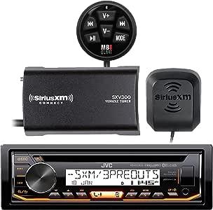 JVC KD-R97MBS Marine Boat CD MP3 SiriusXM Ready Pandora AM/FM Radio Player With SiriusXM SXV300v1 Connect Vehicle Tuner Bundle, Cadance BTM-1 Enable Bluetooth Music Streaming