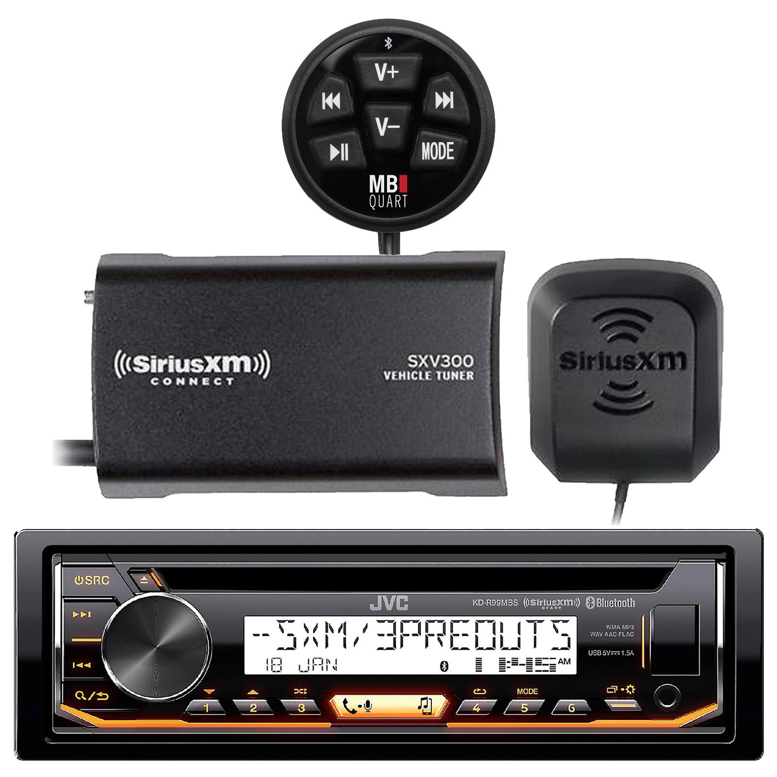 JVC KD-R97MBS Marine Boat CD MP3 SiriusXM Ready Pandora AM/FM Radio Player With and SiriusXM SXV300v1 Connect Vehicle Tuner Bundle With MB Quart N1-WBT Waterproof Wired Bluetooth Preamp Controller by EnrockMarine
