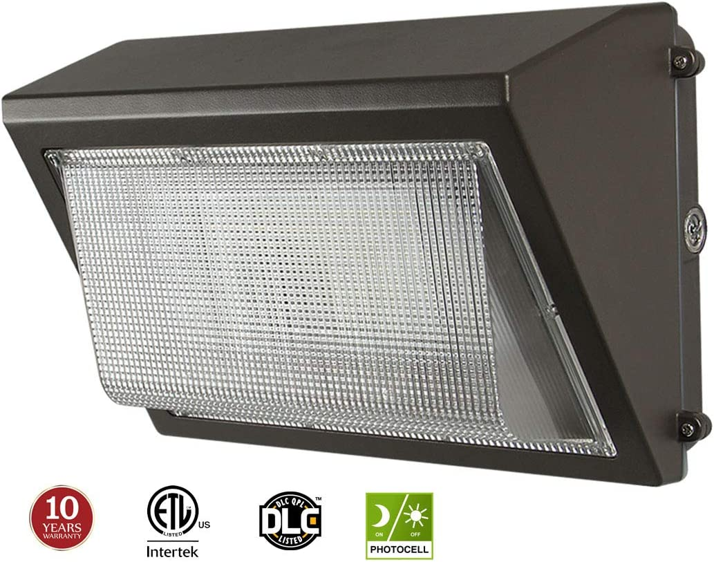 100W LED Wall Pack with Dusk-to-Dawn Photocell, 12500lm Replaces 300-400W HPS MH, 100-277V 5000K Cool White IP65 Waterproof Outdoor Commercial Grade Light, ETL DLC Listed 10-Year Warranty by Kadision