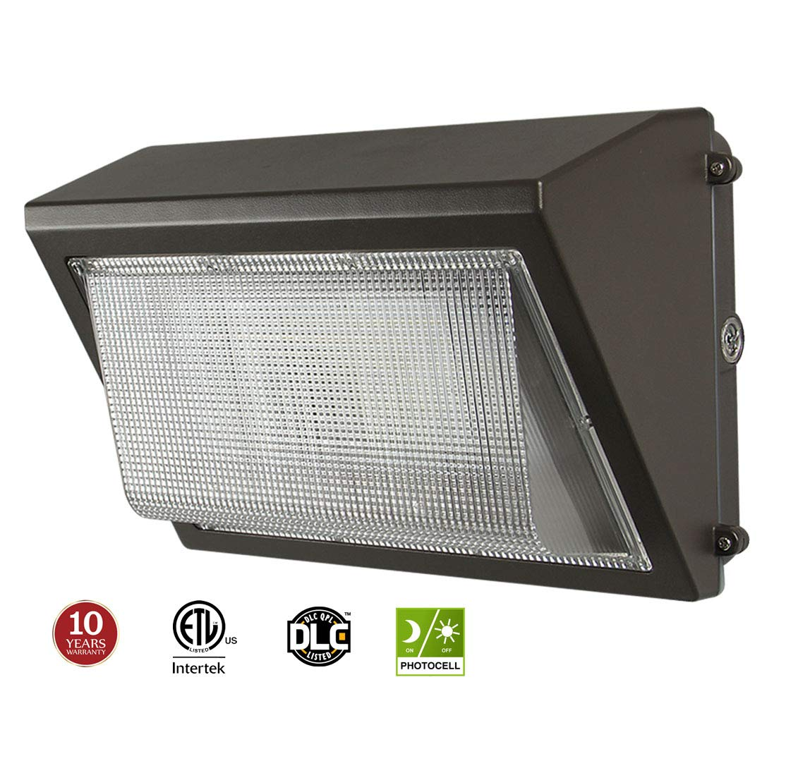 LED Wall Pack with Dusk-to-dawn Photocell, 60W Waterproof Outdoor Commercial Lighting Fixture, 200-300W HPS/MH Replacement, 5000K 7200lm 100-277Vac ETL DLC Listed 10-year Warranty by Kadision by kadision
