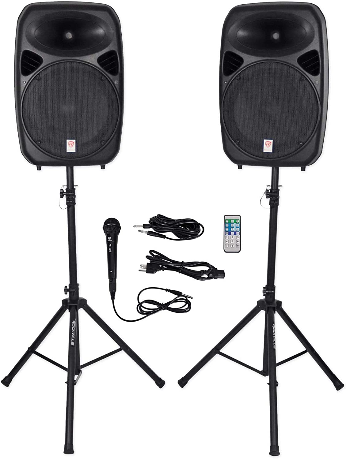 "Rockville RPG152K Dual 15"" Powered, Bluetooth+Mic+Speaker Stands+Cables"