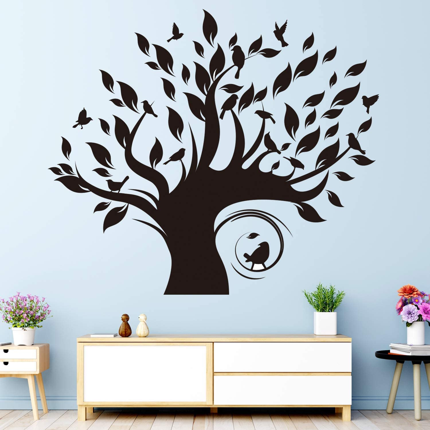 VODOE Tree Decal Wall, Family Tree Wall Decal, Beautiful Forest Nature Plant Bird Stickers Suitable for Kids Room Teen Nursery Boys Girls Living Room Vinyl Art Home Decor(Black 23.6X 20.4inches)