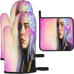 Girl Oven Gloves and Pot Holders Heat-Resistant Food-Grade Kitchen Insulation Gloves Suitable for Cooking Baking Grilling