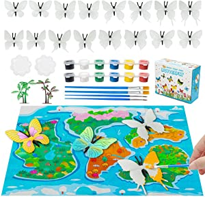 Hairun Butterfly Painting Kit for Kids Crafts and Arts Set, Paint Your Own Butterfly Toy Crafts and Art Supplies Party for Boys Girls Age 4-8 Years Old Kid Fun DIY Creative Activity Birthday Gift