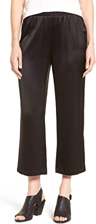 Details about  /NWT $278 Eileen Fisher Black 100/% Silk Crepe Satin Straight Cropped Pants 2X 3X