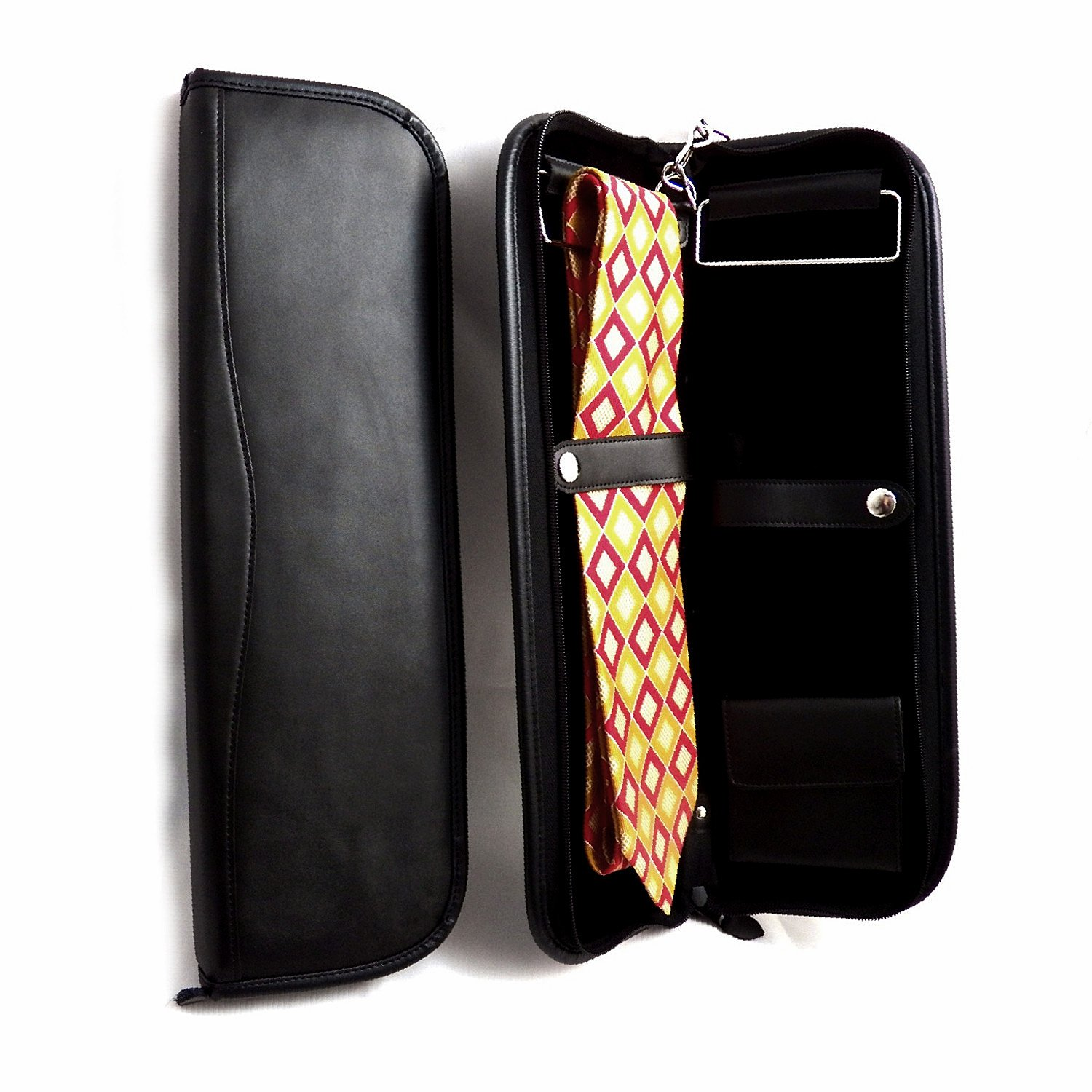 Mens Gifts - Black Leather Travel Tie Case