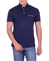 Vivid Bharti Navy Collar Pocket Dot Printed Cotton T-shirt(Premium Quality T-Shirt)