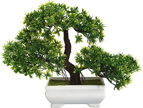 Amazon Com Accreate Mini Fake Plants Creative Bonsai Tree Artificial Plant Not Faded No Watering Potted For Office Home Decor Home Kitchen