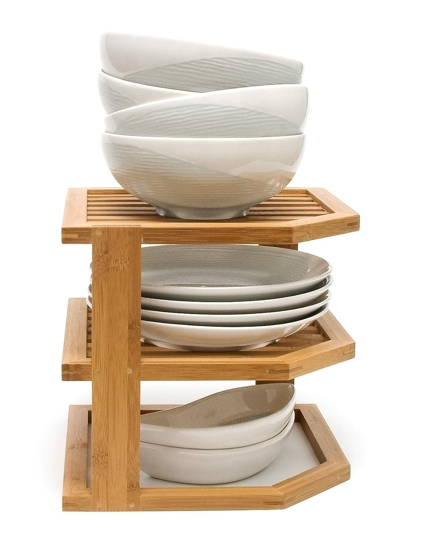 Bamboo Wood 3-Tier Corner Kitchen Countertop Storage Shelf