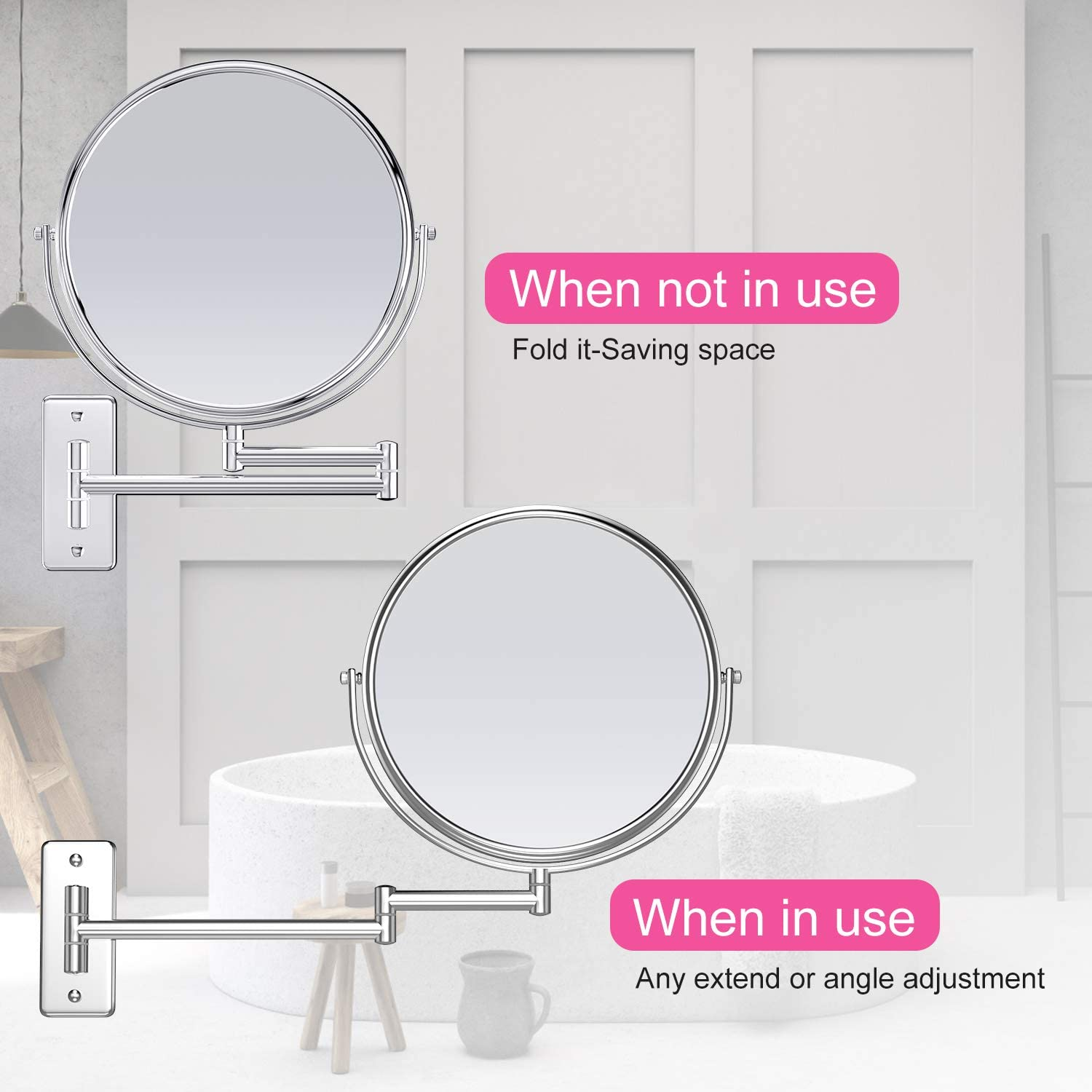 Gospire 9 Large Size Wall Mount Makeup Mirror with 5X Magnification Double-Sided Swivel Mirror,Polished Chrome Finished