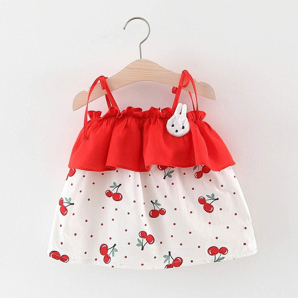 Vovotrade Kid Baby Girl Fruits Cherry Printed Long Sleeve Party Princess Dress Clothing