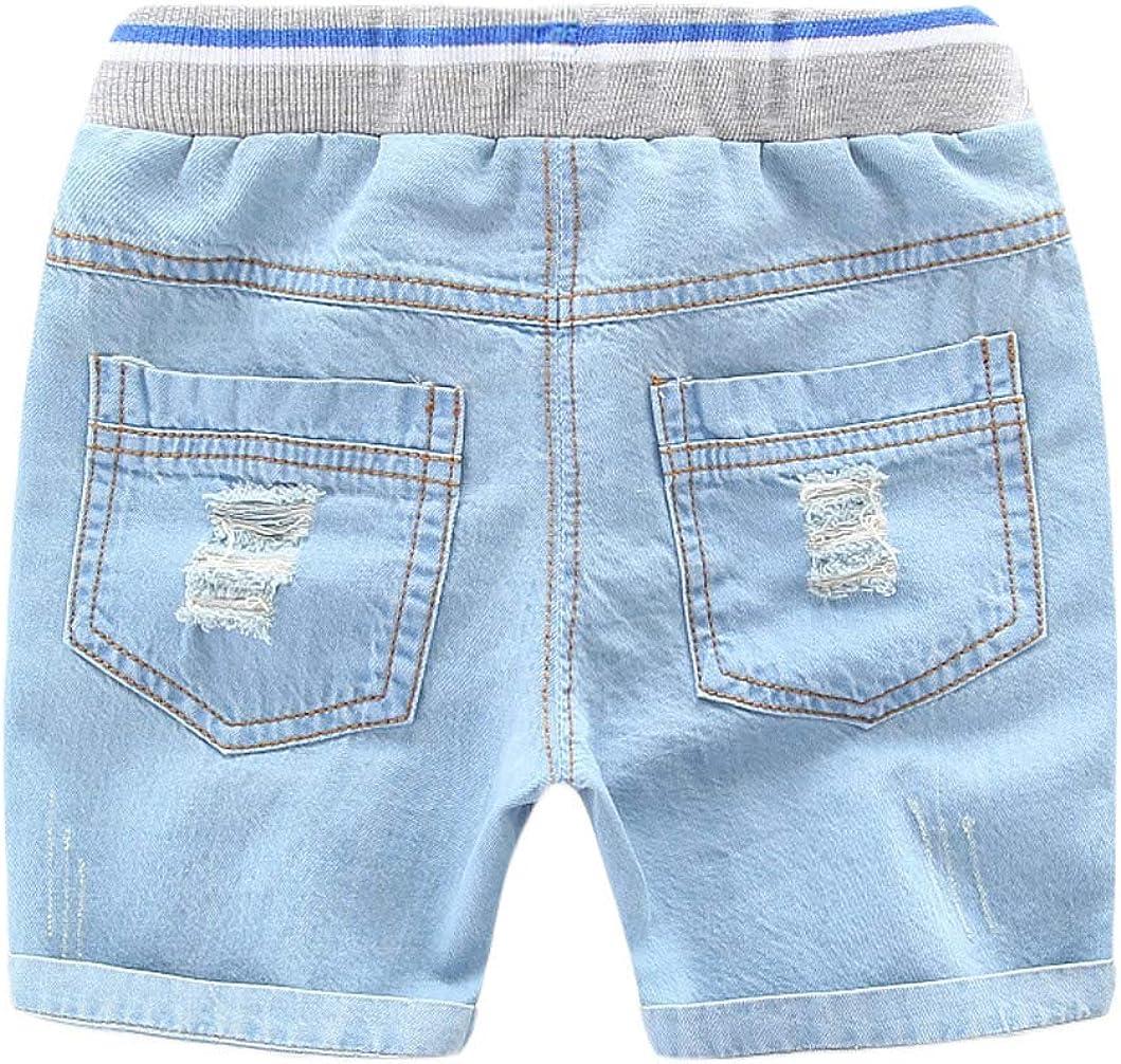 MMWORM Baby Boys Denim Shorts Ripped Jeans Short Pants Elastic Waist Shorts