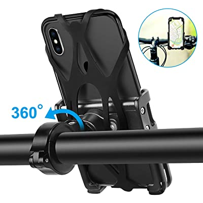 "Aubon Universal Bike Phone Mount | Motorcycle Phone Holder Adjustable can 360 Degree Rotation With Anti Shake Silicone Bands Fits iPhone Xs|XS Max XR 8|8 Plus Galaxy S9 Holds Phones from 3.5-7""Wide: Automotive"