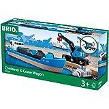 Brio 33534 - Containerschiff mit Kranwagen