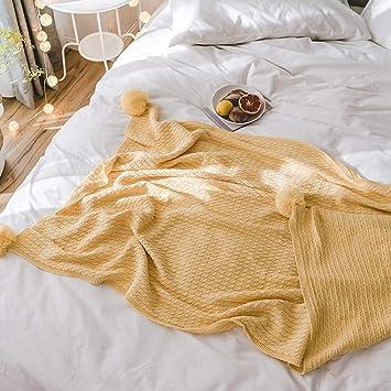 GYFY Textil sofá Manta algodón Knit Bola Manta Simple Moderno Estilo nórdico Toalla Manta,Gooseyellow