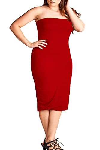 ViiViiKay VVK Womens Plus Size Summer Bodycon Strapless Slim Fitted Basic Midi Tube Dress