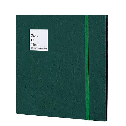ManaUK Álbum de Fotos DIY, Album de Franela, 60 páginas Negras cumpleaños/Aniversario/Boda/graduación(Verde)