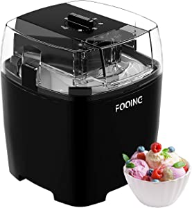 FOOING Ice Cream Makers Countertop, Homemade Ice Cream Machine for Kids, 1.5 Quart Gelato Sorbet Maker Frozen Yogurt Machines for Home, Soft Serve (Black)