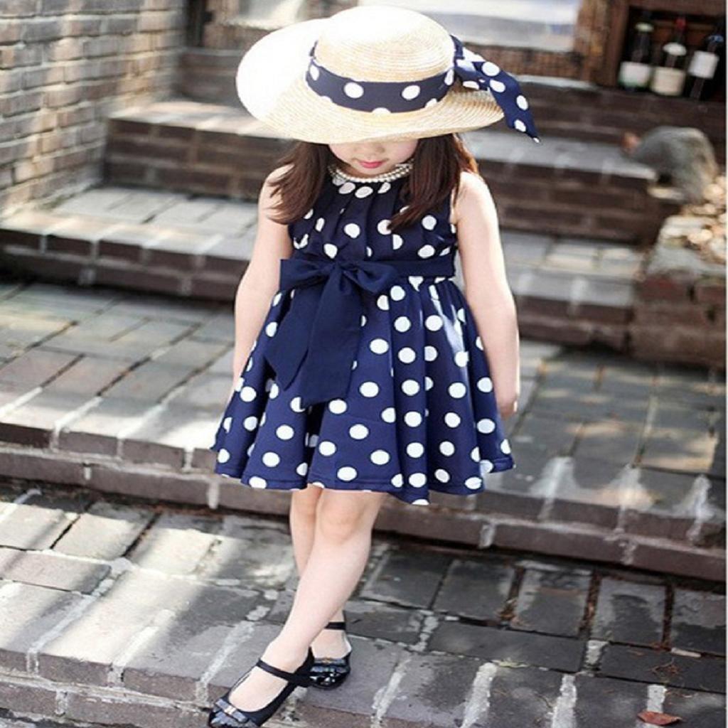 Vestido de fiesta de la princesa Koly Lunares Vestido para niñas (140, Azul): Amazon.es: Hogar