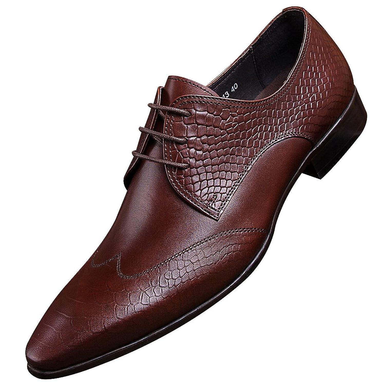 Jamron Hombres De Buen Tono Grabado de Piel de Serpiente Piel Genuina Zapatos  De Vestir Elegante 43e1189733df1