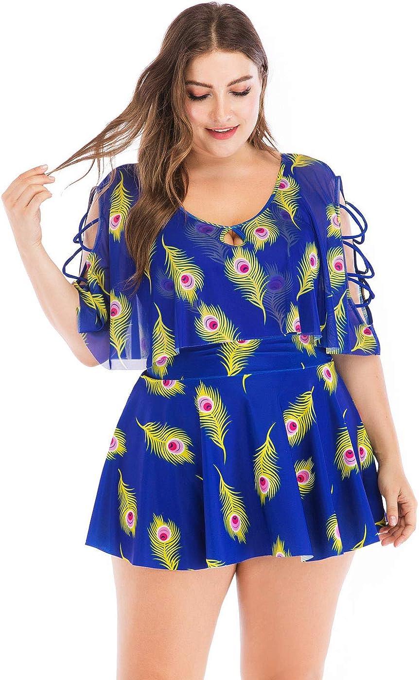 Wellwits Womens Plus Size Crisscross Flutter Sleeves Cherry Print Swimdress