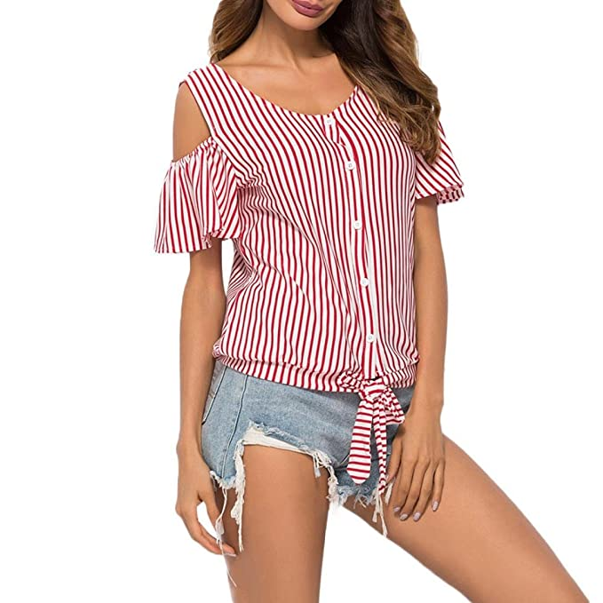 OHQ Camiseta Mujeres Blusas Blusas De Manga Corta con Hombros Descubiertos A Rayas para Mujer Vestido