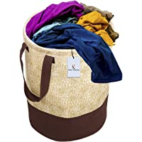Kuber Industries Metalic Printed Waterproof Canvas Laundry Bag, Toy Storage, Laundry Basket Organizer 45 L (Brown) CTKTC134617