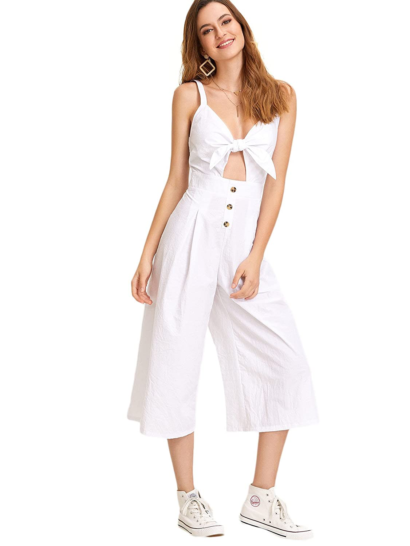 b8af052c659 Amazon.com  Floerns Women s V Neck Tie Front Spaghetti Strap Wide Leg  Jumpsuit  Clothing