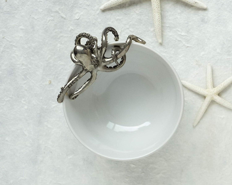 Vagabond House Pewter Metal Nautical//Ocean Octopus Stoneware Bowl 7 L x 6.25 W x 4.75 H Small
