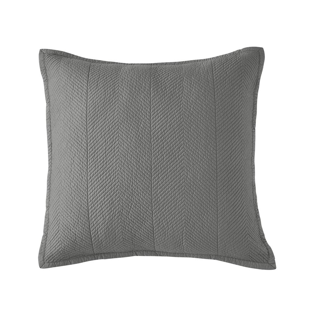 Euro Calla Angel Evelyn Stitch Chevron Pure Cotton Quilted Pillow Sham 26 x 26 Gray